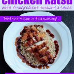 Pinterest image of a plate of chicken katsu with tonkatsu sauce from above
