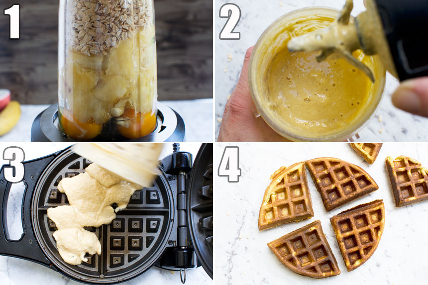 A collage of 4 photos showing how to make banana bread waffles in a blender with just bananas, oats and eggs