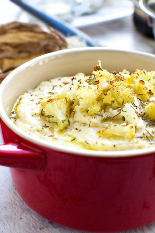 Our favourite cheesy roasted cauliflower mashed potatoes