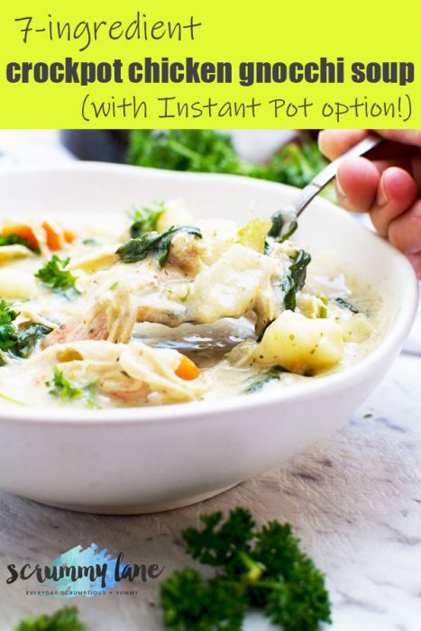 Someone eating from a bowl of crockpot chicken gnocchi soup (Pinterest image)
