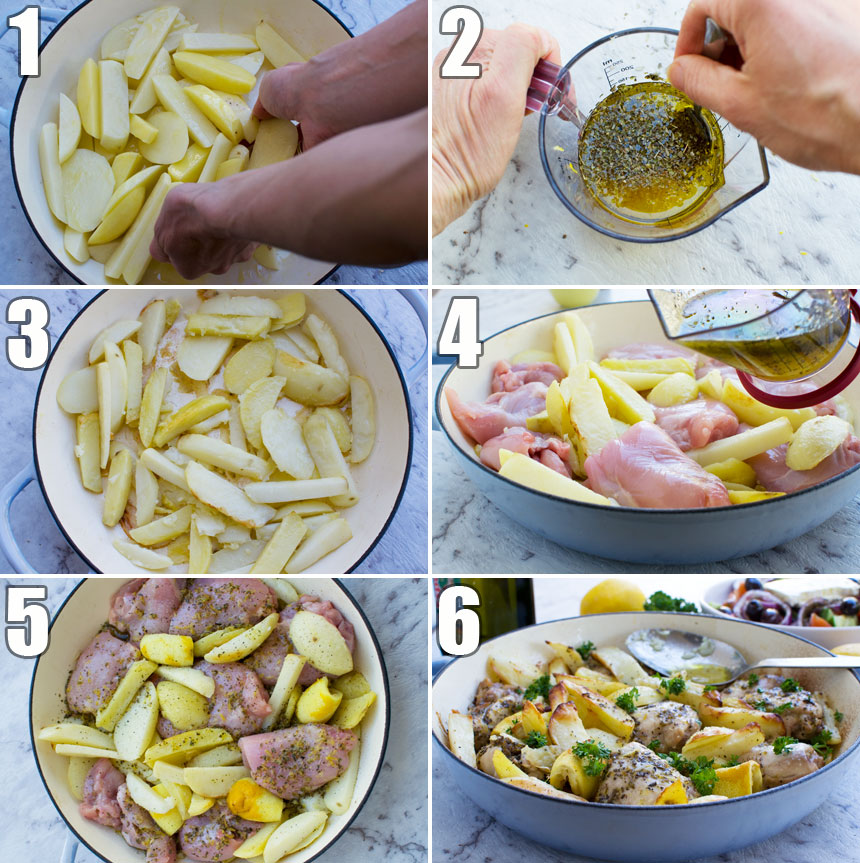 A collage of 6 photos showing how to make Greek baked chicken and potatoes