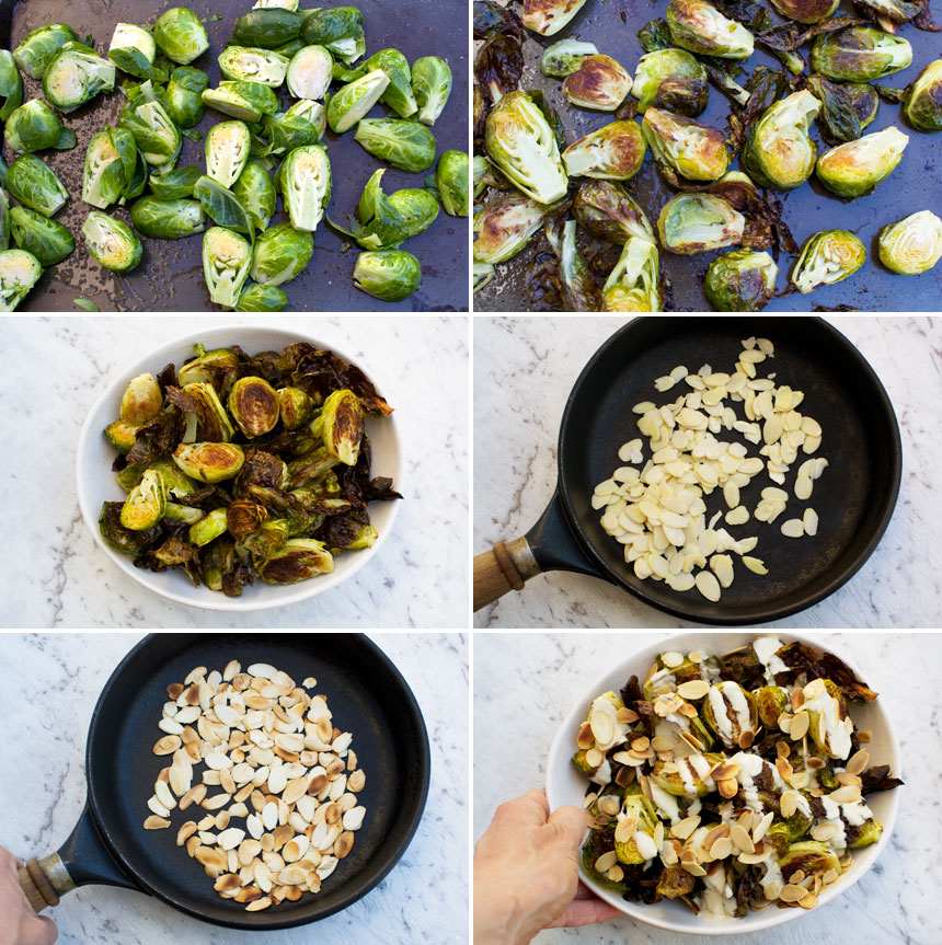 A set of 6 photos showing how to make crispy brussels sprouts with tahini sauce and almonds