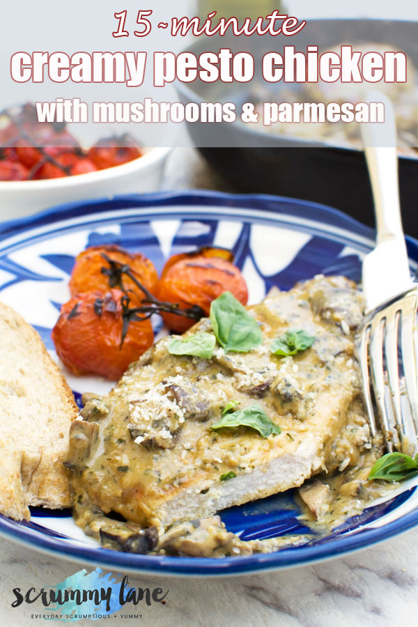 A plate of creamy pesto chicken with roasted tomatoes