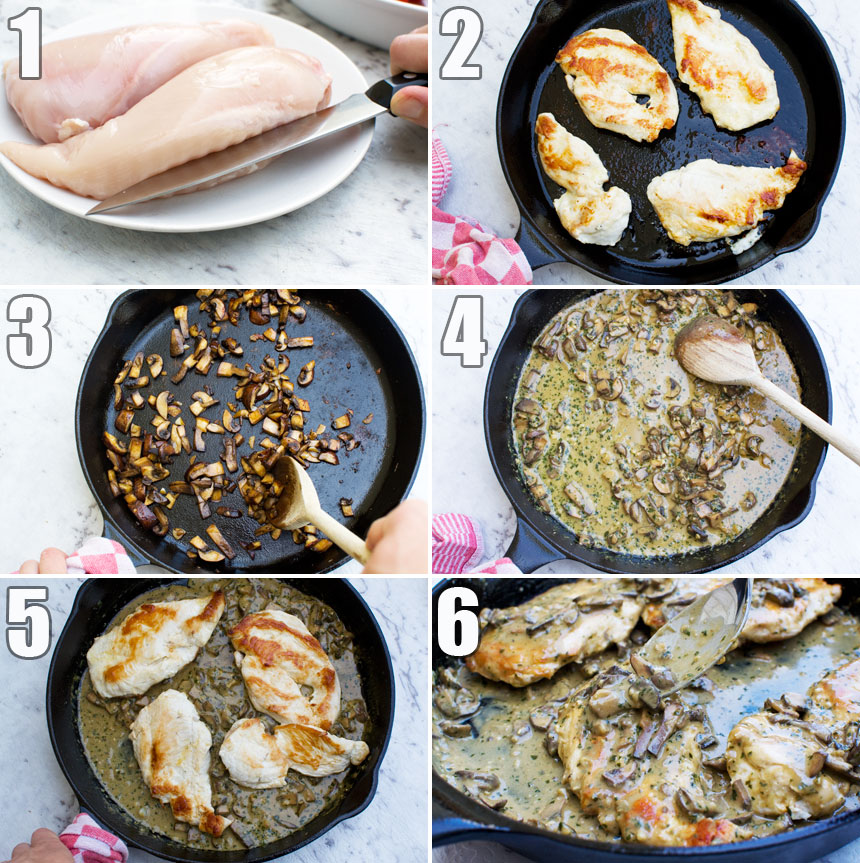 A collage of six photos showing how to make creamy pesto chicken in a cast iron pan
