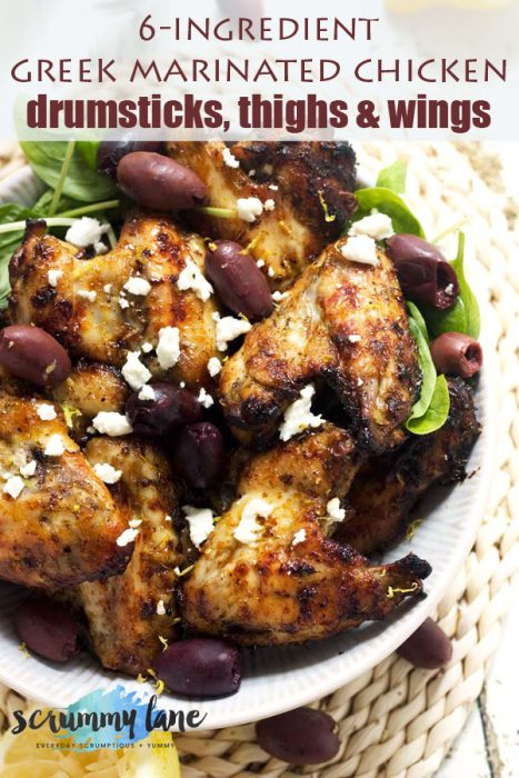 A birds eye view of a dish of Greek marinated chicken wings