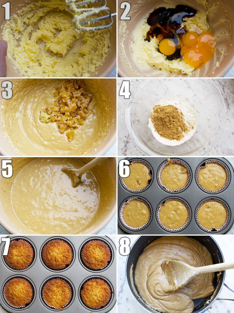 A series of 8 process photos showing how to make gingerbread muffins with salted caramel icins