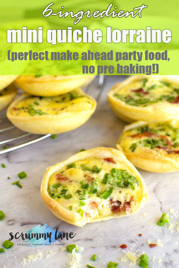 Mini quiche lorraine with a bite taken out for Pinterest