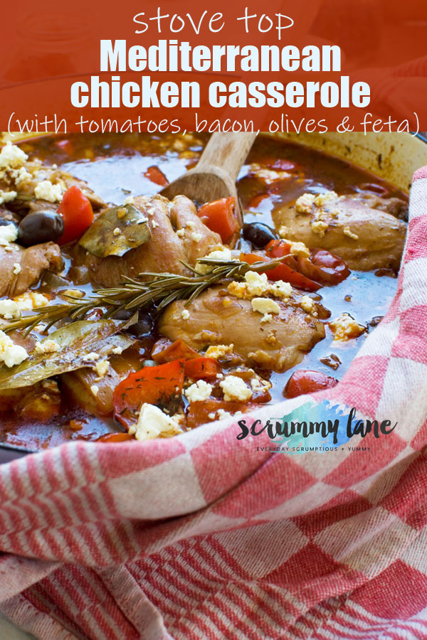 Stove top Mediterranean chicken casserole with a red checkered tea towel wrapped around the pan
