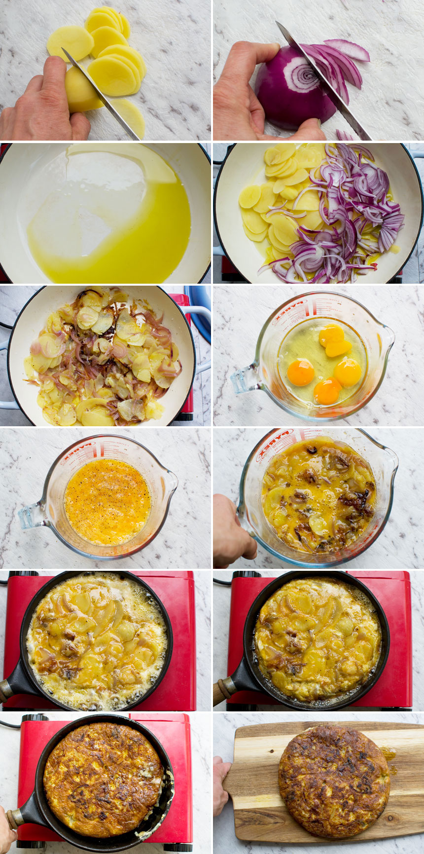 A series of images showing how to make a Spanish omelette