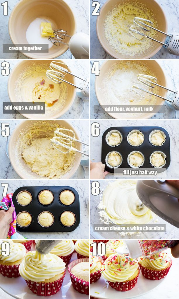 A series of photos to show how to make healthier vanilla cupcakes with 2-ingredient frosting