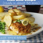 A plate of homemade fish and chips in lemon butter sauce