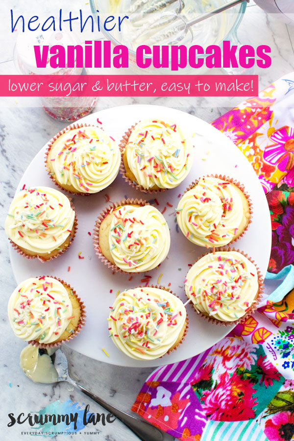 A plate of healthier vanilla cupcakes with a 2-ingredient frosting from above