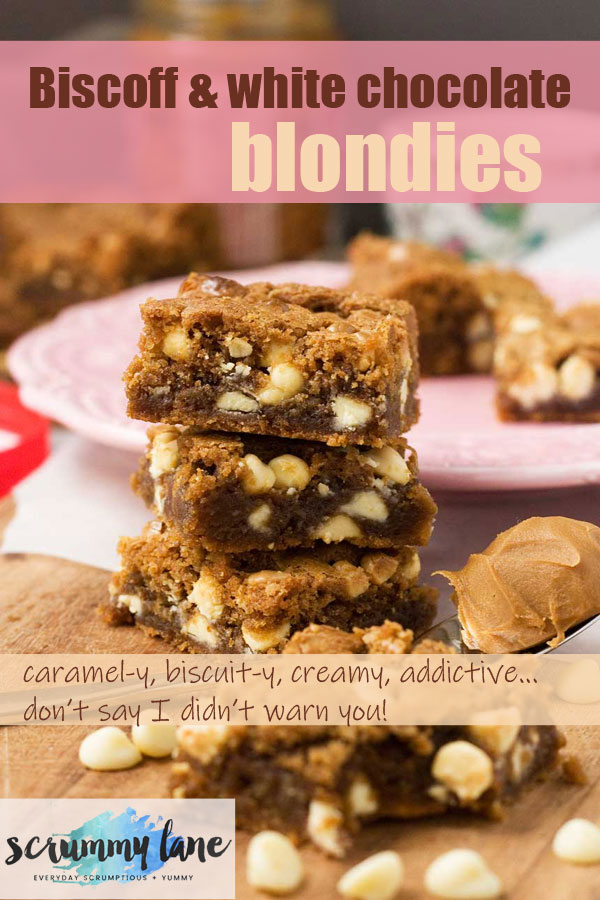 A stack of 3 Biscoff spread and white chocolate blondies
