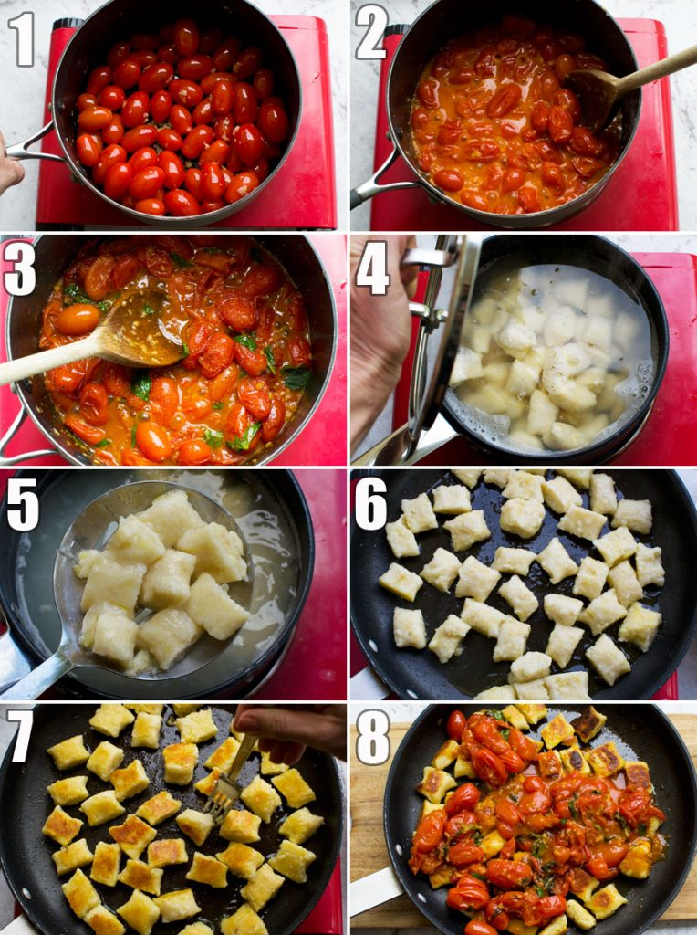 How to make pan fried gnocchi with cherry tomato sauce