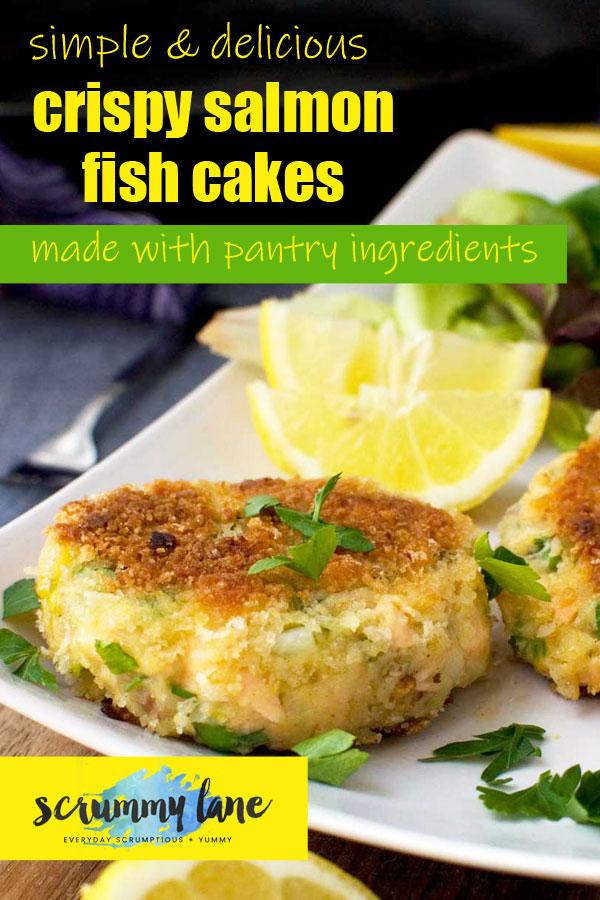 A plate of basic crispy salmon fish cakes