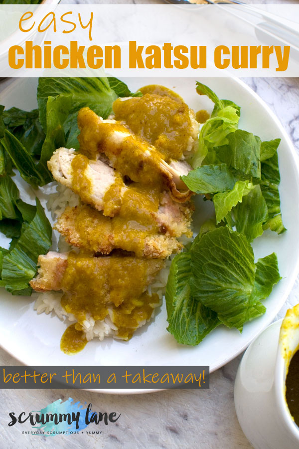 Pinterest image showing a plate of chicken katsu curry from above