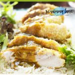 Pinterest image showing a plate of crispy chicken katsu curry with rice and lettuce leaves