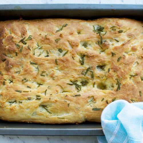 Freshly baked Italian focaccia bread