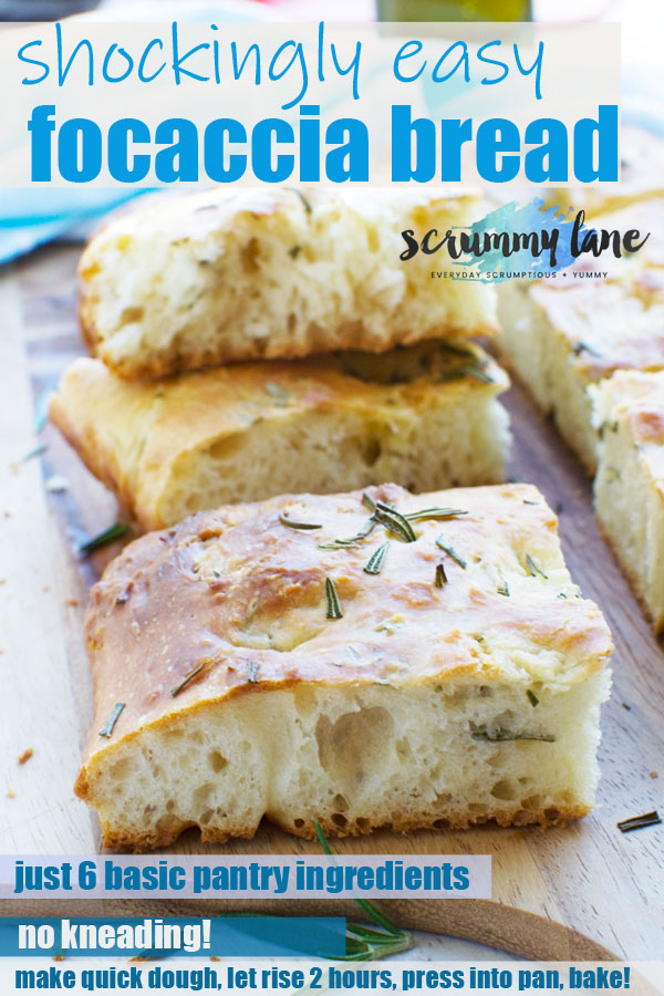 Pinterest image of slices of freshly baked Italian focaccia bread