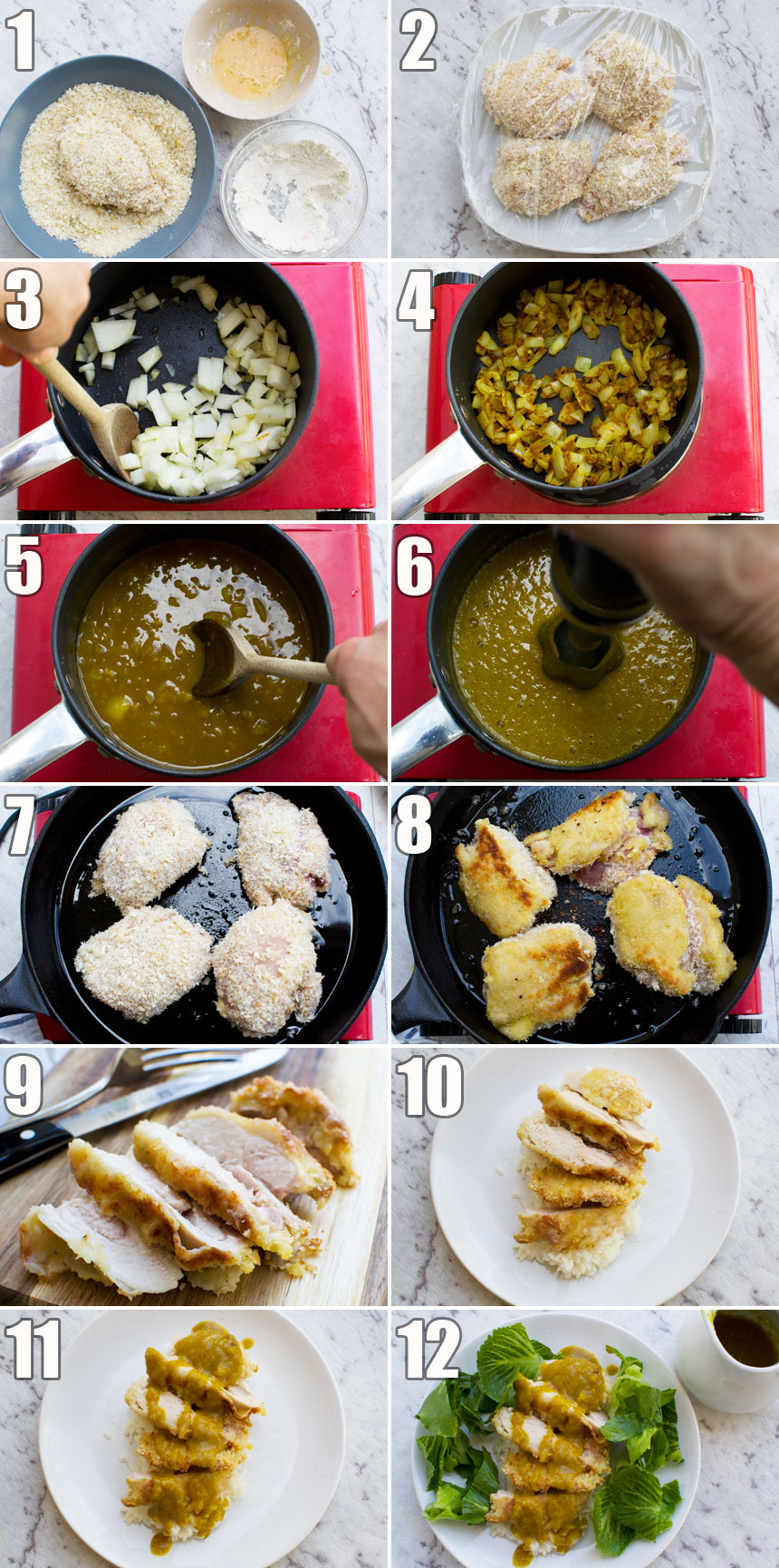 A series of 12 process photos showing how to make a chicken katsu curry