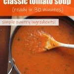 A Pinterest image of a pan of classic tomato soup from above