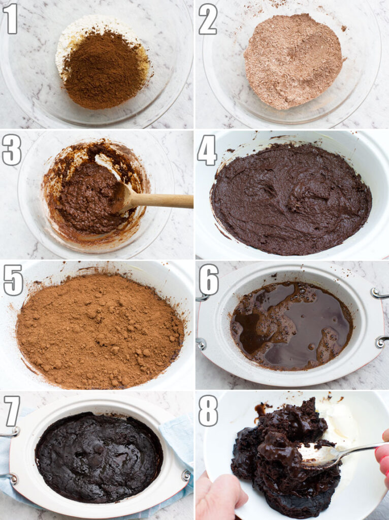 A collage of photos showing how to make an easy chocolate self saucing pudding