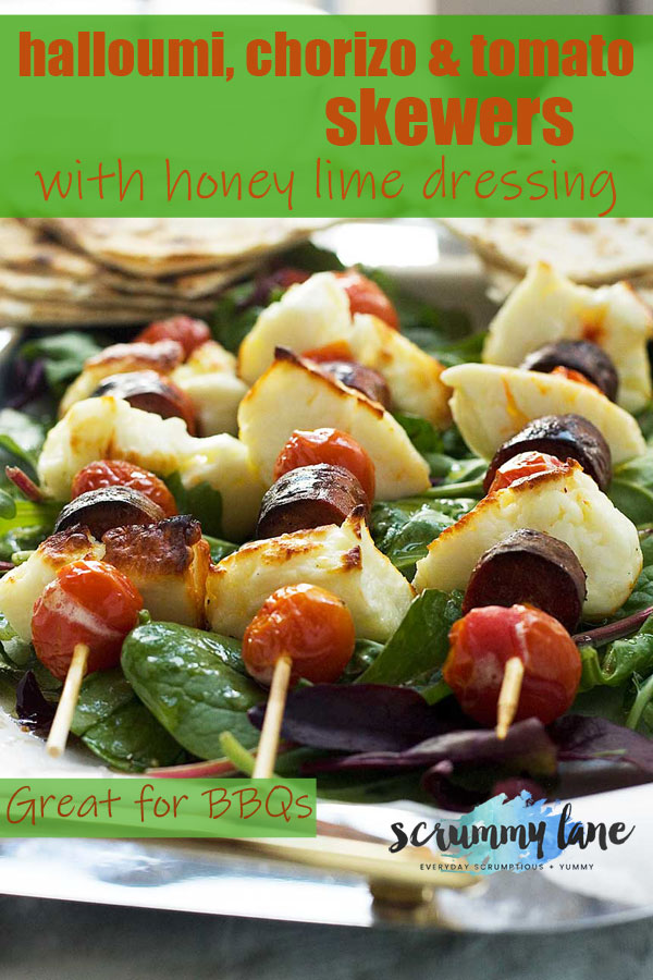 A Pinterest image of halloumi, chorizo and tomatoes roasted on skewers