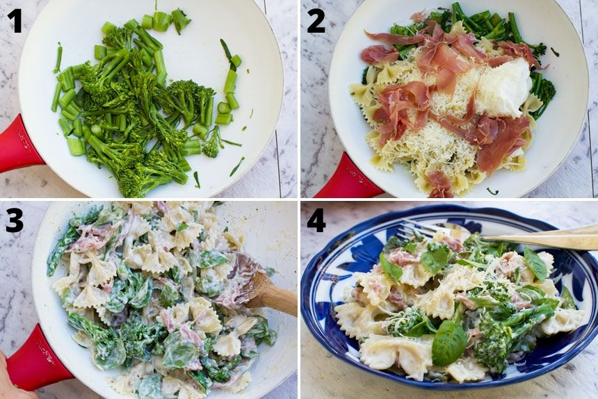 A series of photos showing how to make lemon ricotta pasta with prosciutto and broccoli