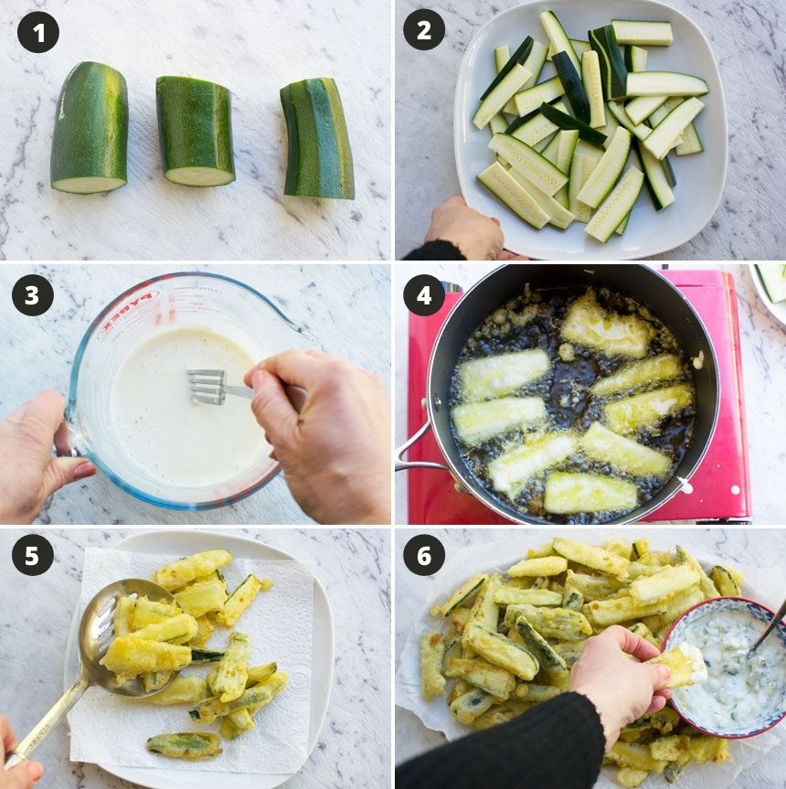 A collage of photos showing how to make zucchini fries with crispy tempura batter