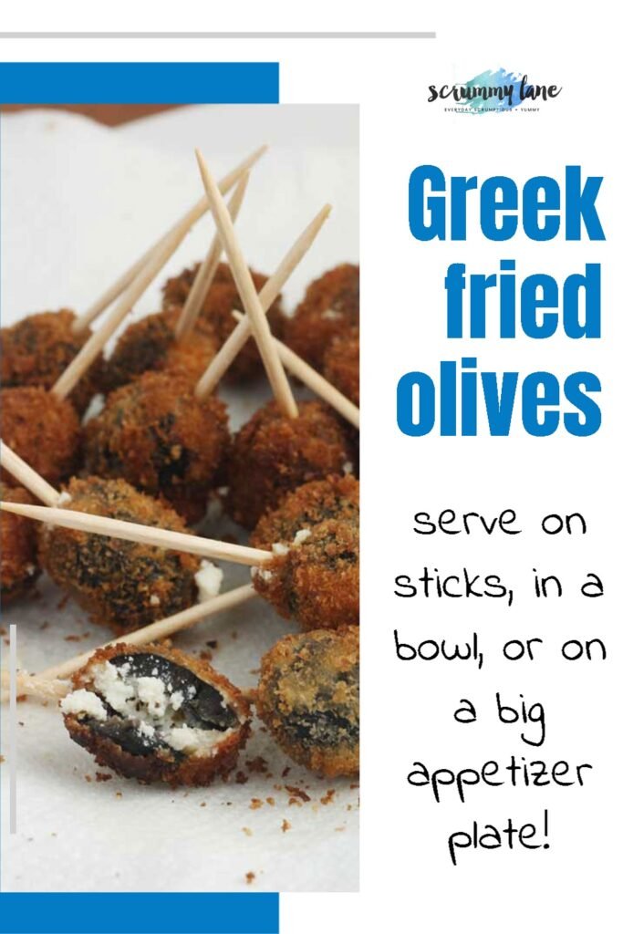 An image of fried stuffed olives with a blue title on it on the right half - for Pinterest