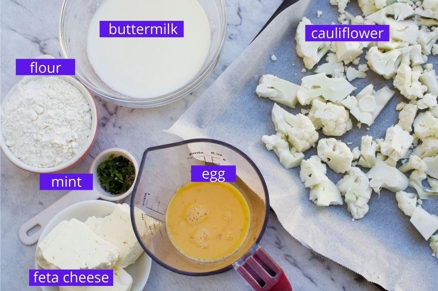 Ingredients for cauliflower fritters