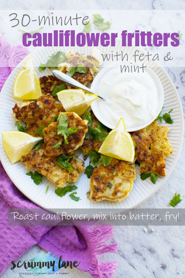 Pinterest image of plate of cauliflower fritters with feta and mint