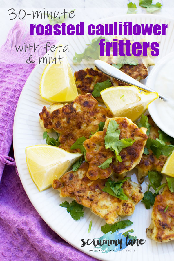 Pinterest image of a plate of cauliflower fritters with a purple tea towel in the background