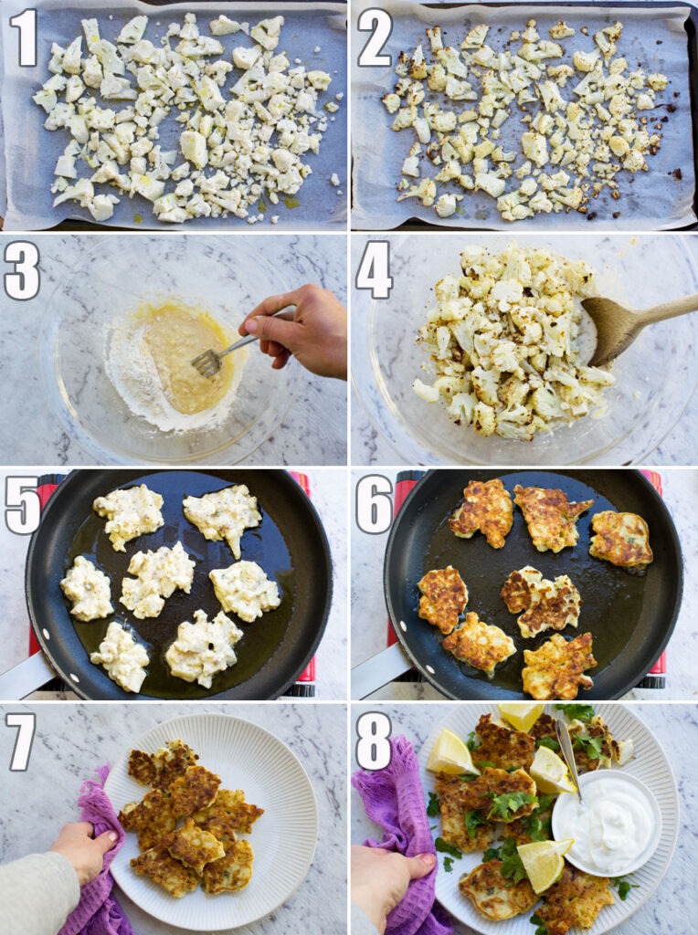 8 process photos showing how to make cauliflower fritters
