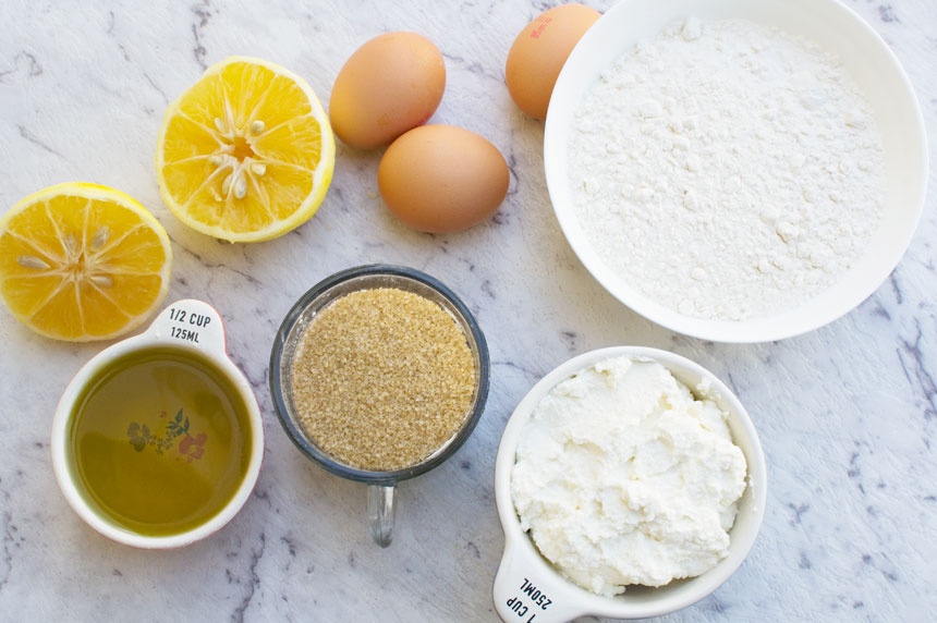 ingredients to make a ricotta lemon loaf cake