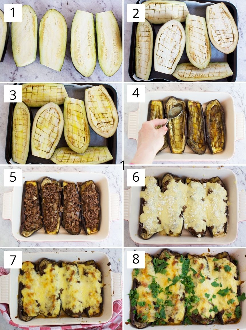 A collage of 8 photos showing how to make Greek stuffed eggplants or papoutsakia