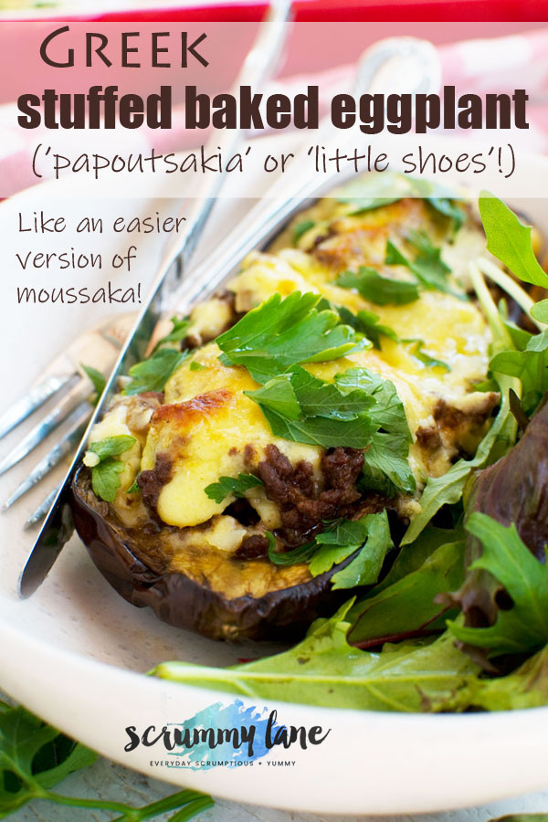 A plate of Greek stuffed eggplant or papoutsakia (for Pinterest)