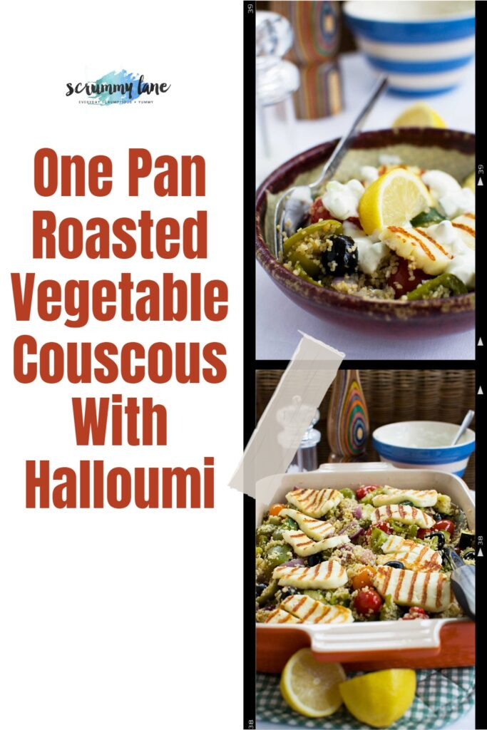 2 images of roasted vegetable couscous with crispy halloumi with a big title in red on the left side for Pinterest
