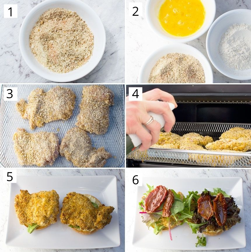 Collage of images showing how to make crispy chicken burgers