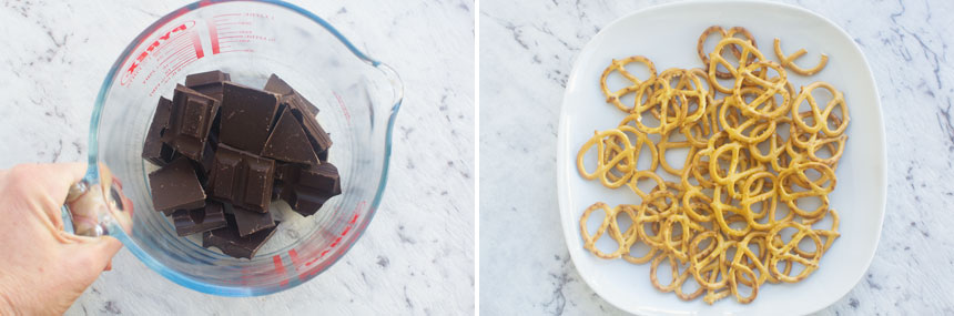 2 images showing chocolate pretzel ingredients