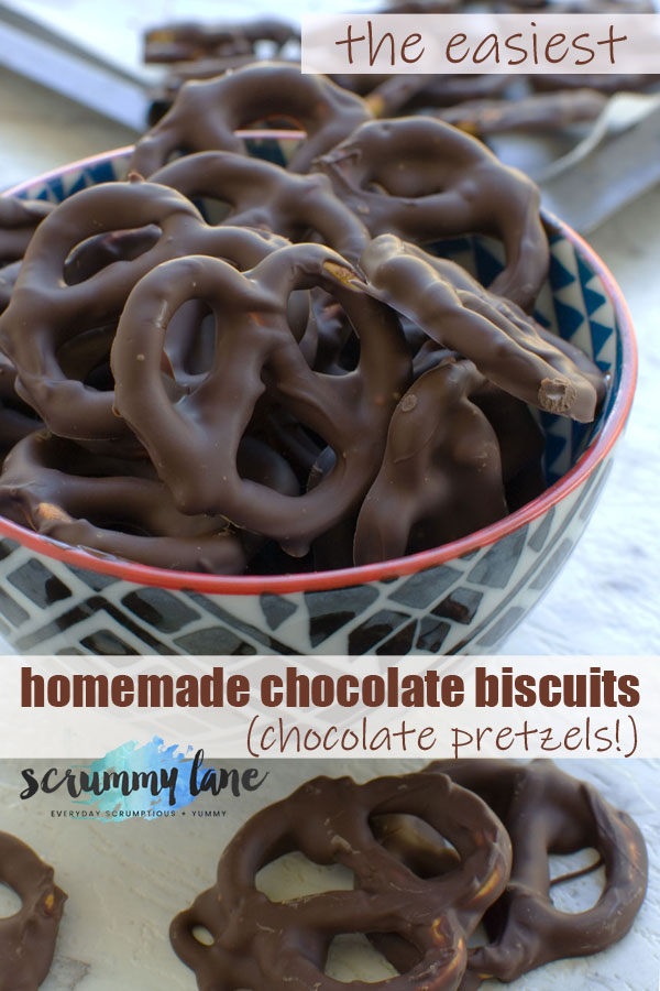 A bowl of chocolate pretzels - photo for Pinterest