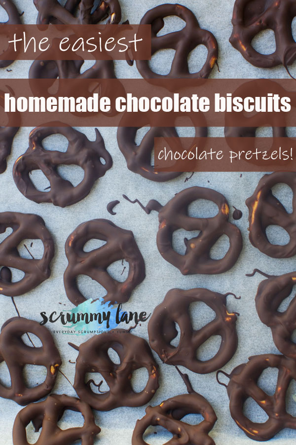 Chocolate pretzels on a baking tray from above - image for Pinterest with title on it