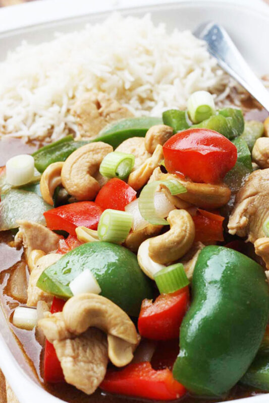 20-minute chicken and cashew nuts with peppers
