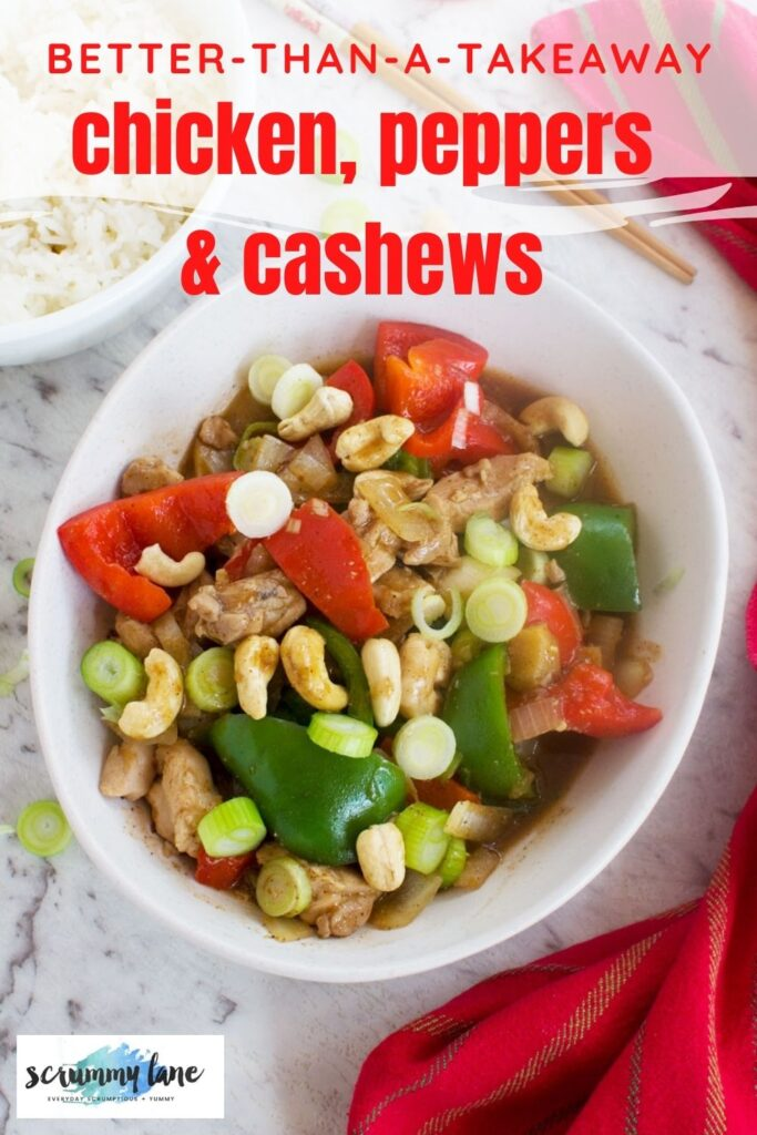 A Pinterest image of cashew chicken stir-fry from above with chopsticks