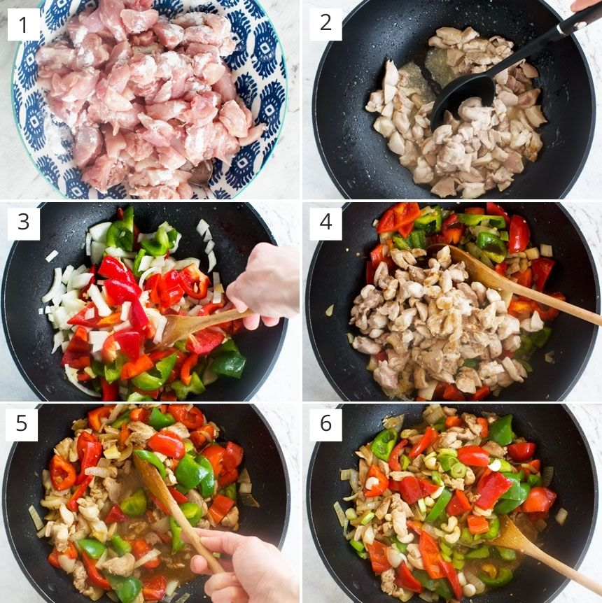 Collage of 6 photos showing how to make chicken and cashew nuts with peppers
