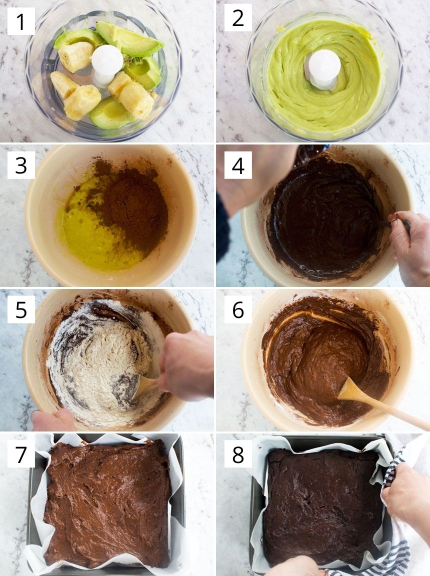 How to make healthy avocado brownies step-by-step