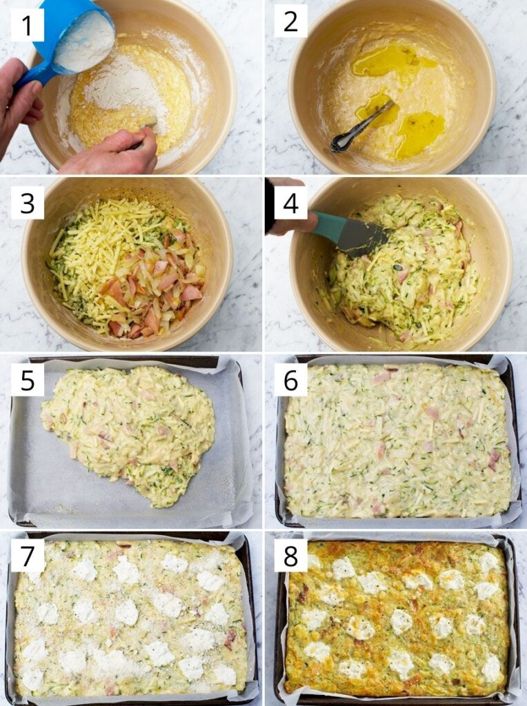 A series of 8 photos showing how to make zucchini slice