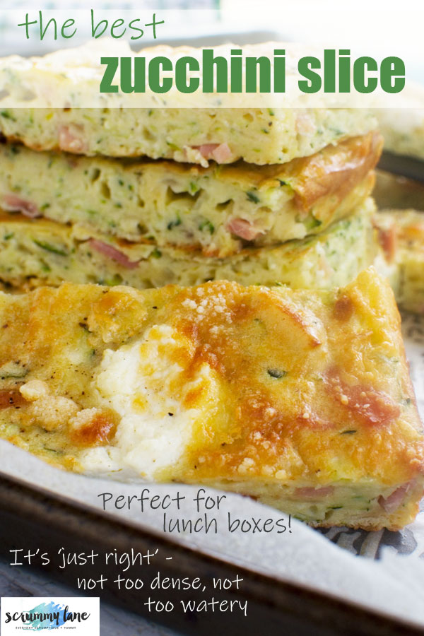 A Pinterest image of a stack of zucchini slice
