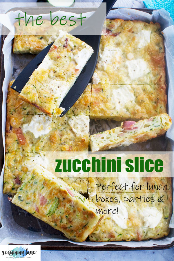 Pinterest image of a baking tray of zucchini slice from above