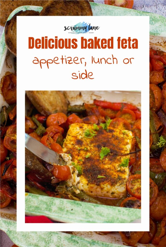 A Pinterest image of a dish of baked feta with tomatoes, peppers and olives with a title on it